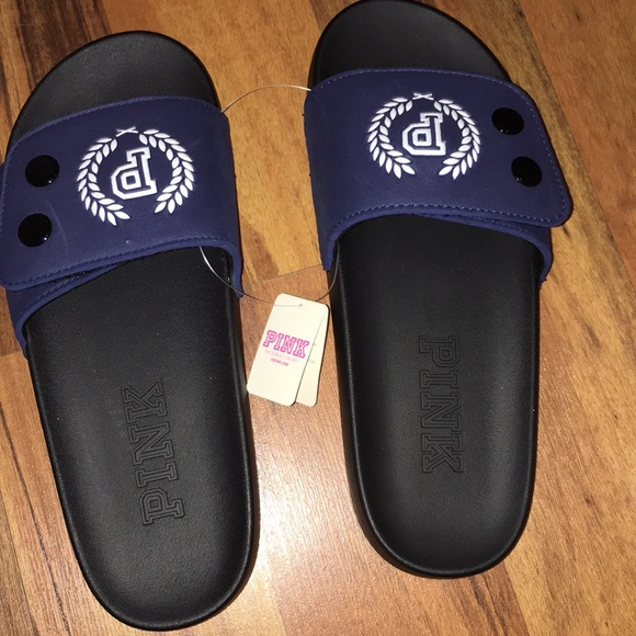 913a91e18ef3a9 NEW VS PINK slides navy blue nation strap 7 - 8